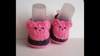 пинетки крючком  мишки