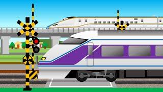 新幹線E7系かがやきとスペーシアの子供向け踏切アニメ   train cartoon