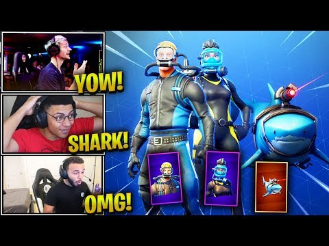 STREAMERS REACT *NEW* LASER CHOMP GLIDER + WRECK RAIDER & REEF RANGER - Fortnite Epic &Funny Moments