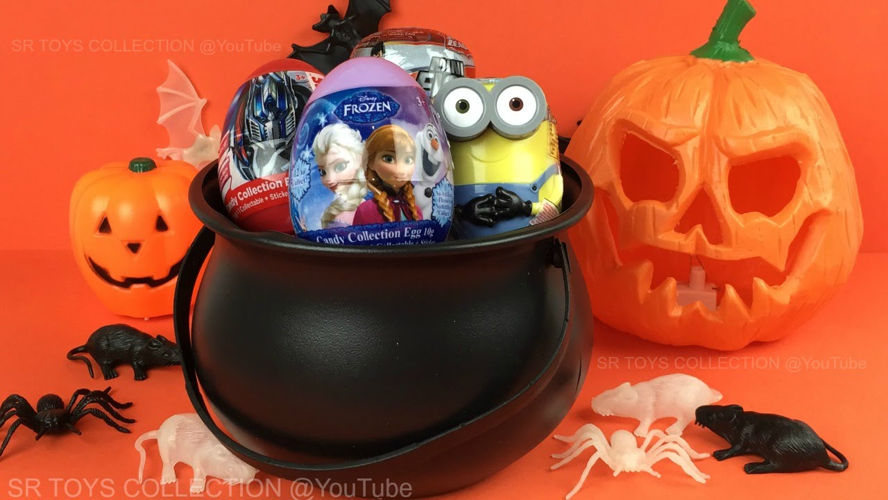 Happy Halloween Surprise Eggs Opening, Disney Frozen, Shopkins, Transformers, Minions the Trash Pack