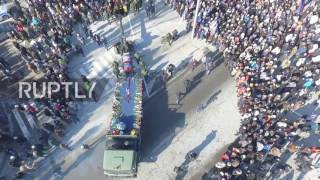 Ukraine: Drone captures hundreds of mourners honouring DPR fighter Mikhail 'Givi' Tolstykh