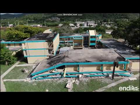Aerial images of the Agripina Seda Middle School in Guanica after the 2020 Earthquake