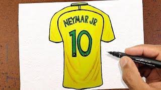 Como Desenhar CAMISA 10 Neymar Jr, Seleção Brasileira ✬ VAMOS DESENHAR ✬