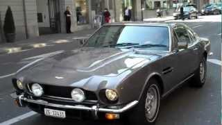Brown 1970's Aston Martin V8 Vantage Drive By in Zurich, Switzerland