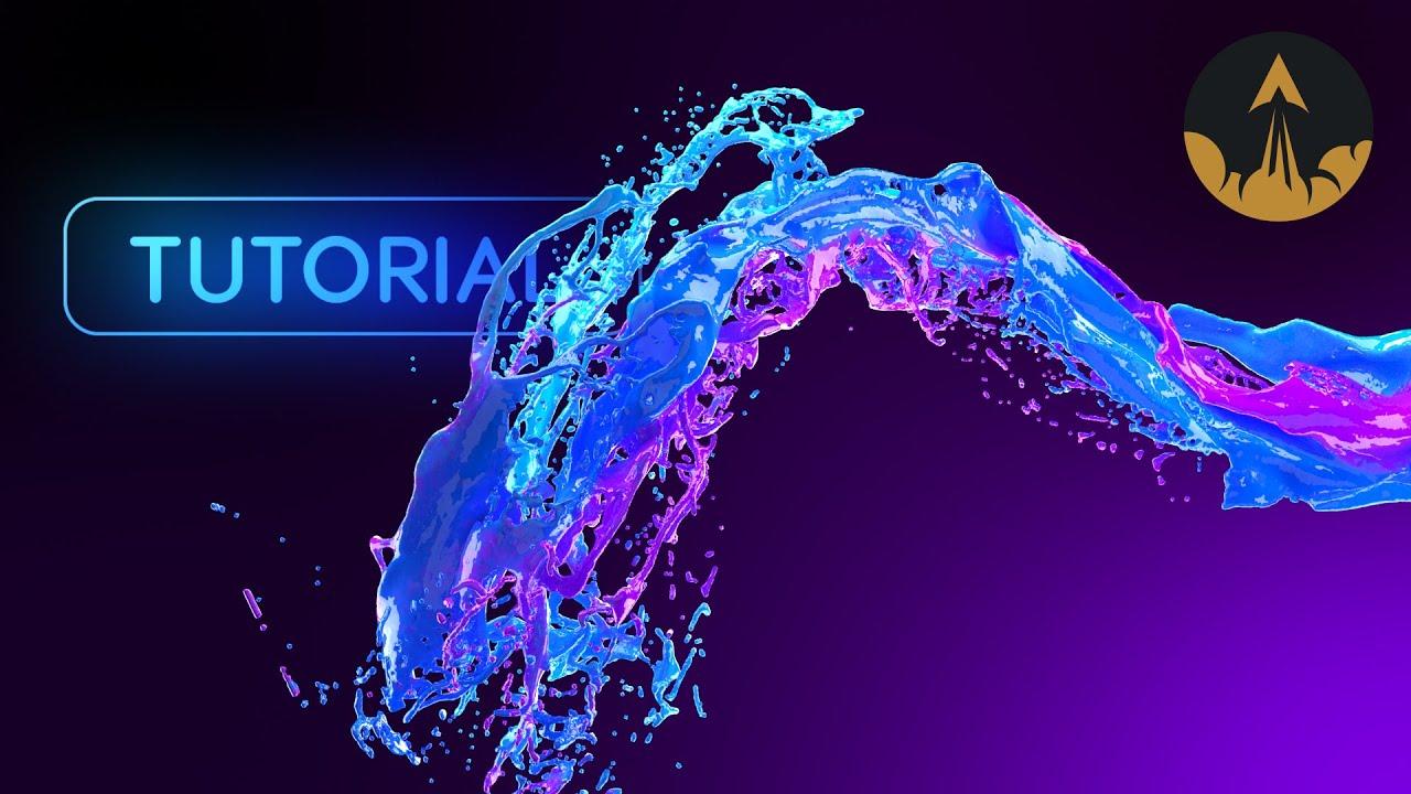 Liquid Path Follow Phoenix FD Tutorial + Color Mixing (Free Project)