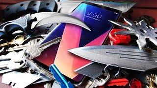 LG V30 vs iPhone 8 ULTIMATE Scratch Test! Karambit, Ninja Star, Katana!
