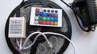 Светодиодная лента RGB. Распаковка посылки из Китая с сайта Алиэкспресс.(Ссылка - http://ru.aliexpress.com/item/RGB-LED-Strip-5M-300Led-3528-SMD-24Key-IR-Remote-Controller-12V-2A-Power-Adapter-Flexible/1849234838.html?, 2015-02-10T12:16:33.000Z)