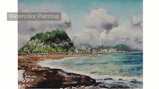제주바다풍경2, 풍경수채화,그림그리기,취미미…
