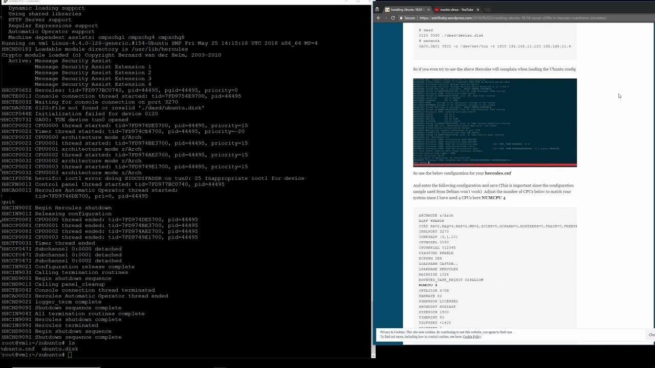 Installing Ubuntu 18 04 Server s390x in Hercules Mainframe