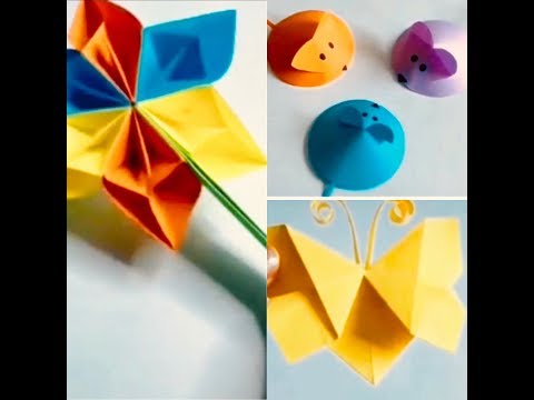 DIY PAPER CARD CRAFTS: CUTE MOUSE, STAR FAN, STAR BALL, KID SPINNER, HEART 💌 ENVELOPE, LADY WALLET