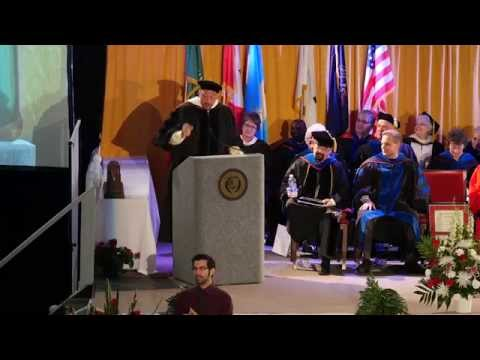 Charlie Batch presents commencement speech to La Roche College graduates in 2014.