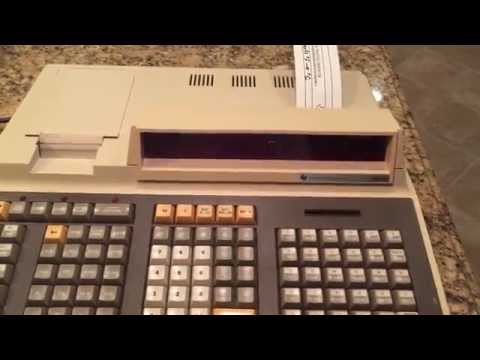Texas Instruments TI SR-60 programmable calculator loading and executing a simple program