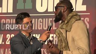 USA: Wilder and Ortiz arrive at MGM Grand ahead of rematch