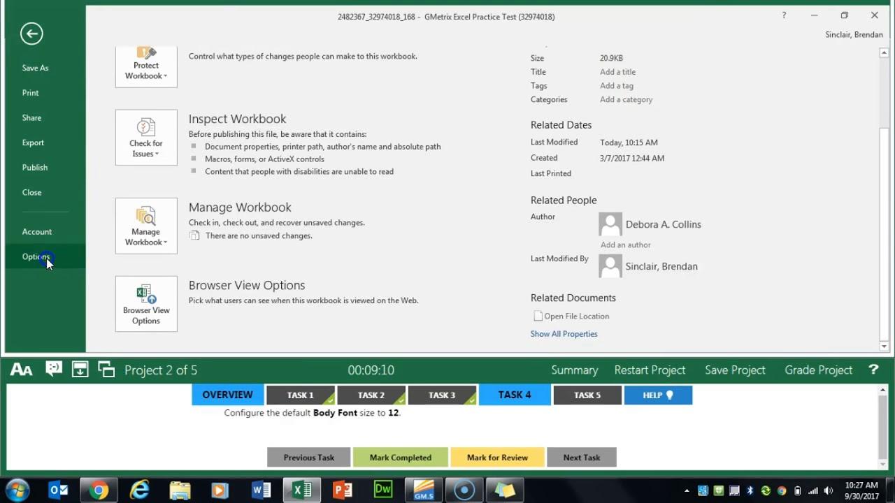 Gmetrix Excel Expert 2016 Practice Exam 3 Project 2 Microsoft