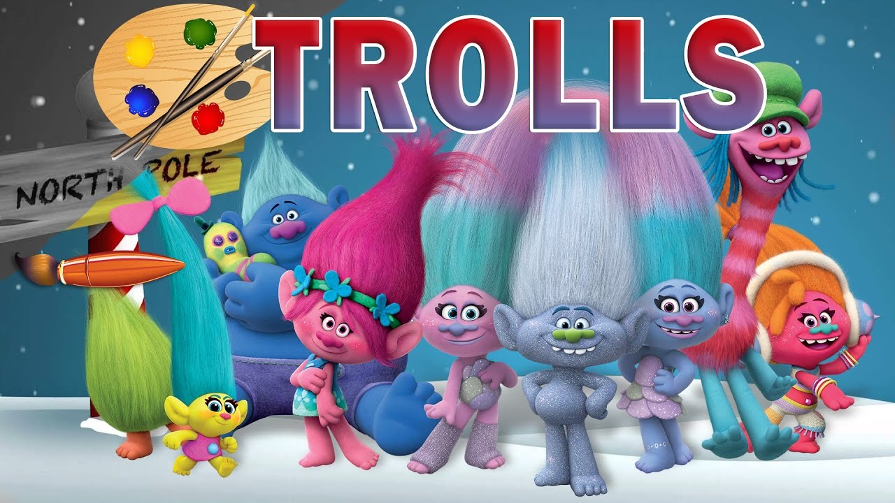 trolls movie christmas - kids coloring book   coloring pages for