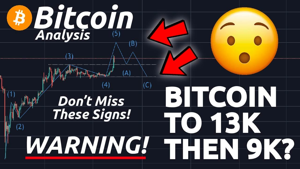 BITCOIN TO 13K AND AFTERWARDS 9K ?!? DON'T MISS THESE SIGNS IN THE CHART!! (ELLIOT WAVE)