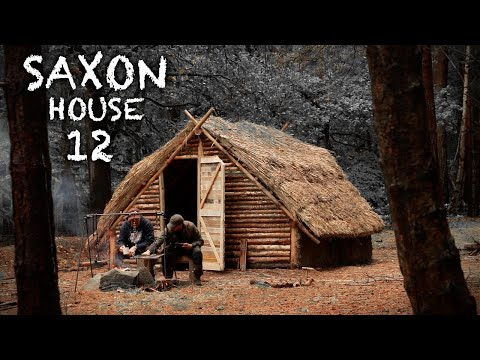 Building a Thatch Roof House with Hand Tools: Bushcraft Saxon Shelter (PART 12)