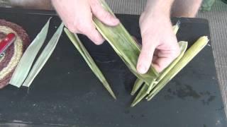 Corn Husk Basket Weaving Part 1 - Preparing the Spokes