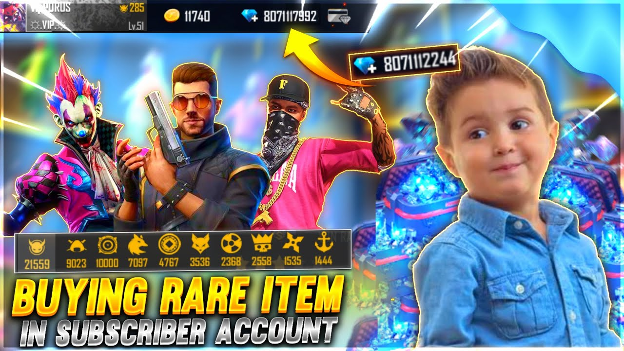 Buying Rare Item in Subscriber Account💎| $60,000 Diamond Top Up In Subscriber Id - Garena free fire