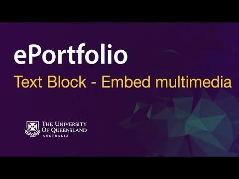 ePortfolio - Text Block - Embed multimedia