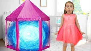Hide and Seek playing Kids got into Toy House Magic Portal   Super Elsa