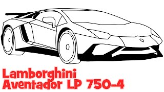 How to draw a car Lamborghini Aventador step by step easy drawing for beginners