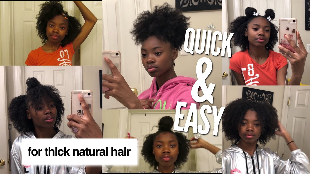 7 Quick And Easy Natural Hairstyles On Thick Hair Youtube