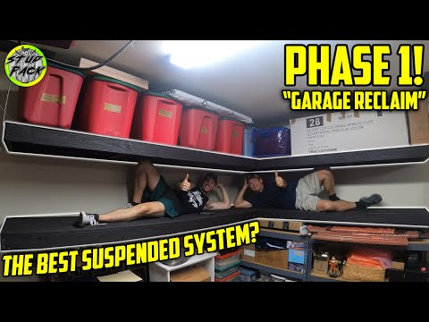 DIY Garage Storage Shelves - Threaded Rod Suspension System