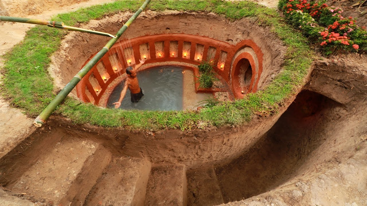 Build most awesome underground swimming pool and underground house youtube - Make a house a home ...