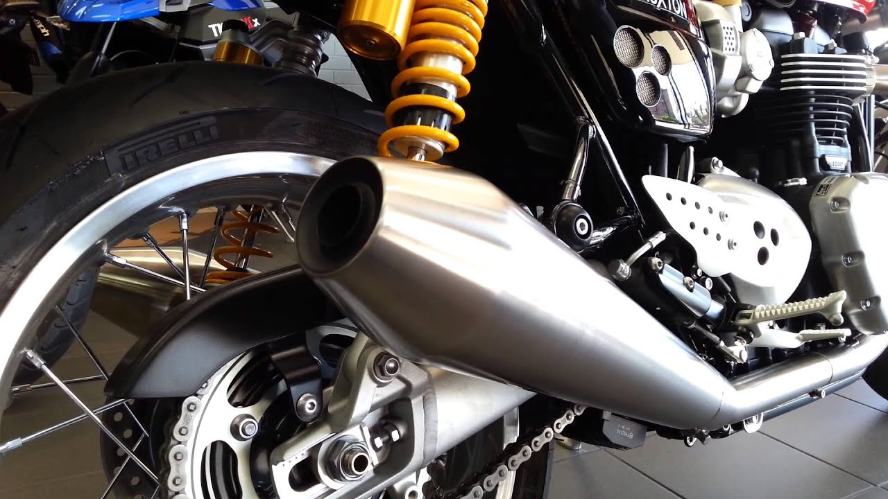 2016 thruxton r stock exhaust at lloyd chapman motorcycles - youtube