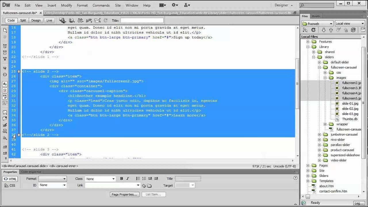 Add and remove slides from the Fullscreen Carousel Dreamweaver