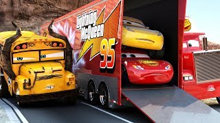Lightning McQueen CHALLENGES Miss Fritter to a real Race - WINNER GETS BUNCH OF OIL Disney Cars 3 thumbnail