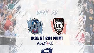 USL LIVE - Colorado Springs Switchbacks FC vs Orange County SC 9/30/17