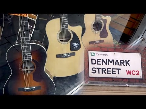 Window Shopping In London Ft. DENMARK STREET  WC2 - Guitars,Pianos & Musical Shops & Stores