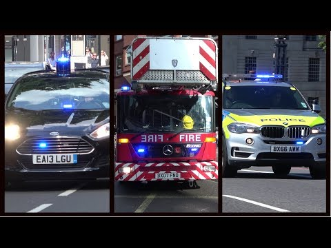Fire engines, police cars and ambulances responding - BEST OF AUGUST 2017 - Siren, horn & action