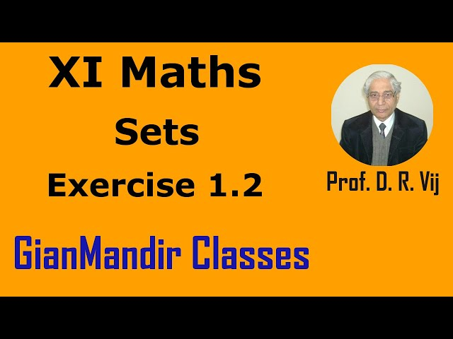 XI Maths | Sets | Exercise 1.2  by Divya Ma'am