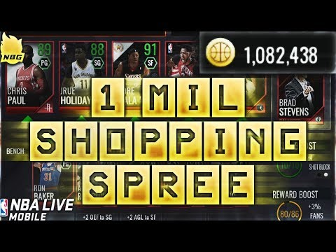 1 MILLION COIN SHOPPING SPREE!   NBA LIVE MOBILE 18  BIGGEST ON YOUTUBE!! 85 OVERALL TEAM!!