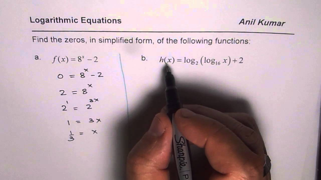 Find Zeros Of Exponential And Logarithmic Equations