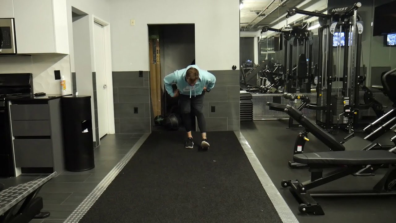 How to perform: Walking hamstring stretch