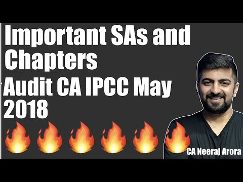 Important SAs and Chapters and Preparation Order For Audit CA IPCC May 2018