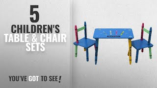 Top 10 Children'S Table & Chair Sets [2018]: Oypla Childrens Wooden Crayon Table and Chairs Set
