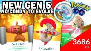 CONKELDURR + NEW GEN 5 IN POKEMON GO   NO CANDY TO EVOLVE