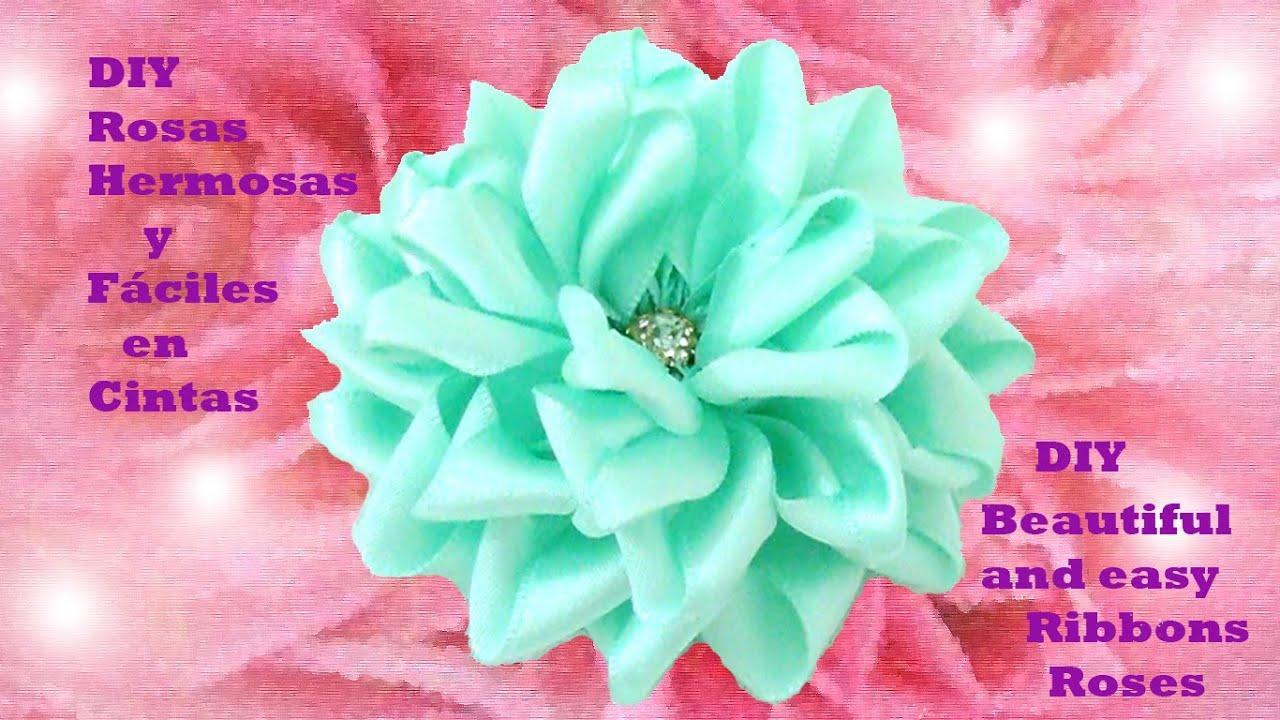 Diy rosas hermosas y f ciles beautiful and easy ribbons - Rosas rosas hermosas ...