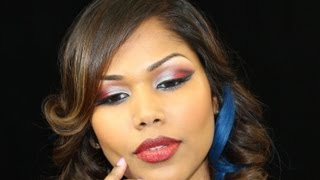 Silvery Red and Blue makeup Thumbnail