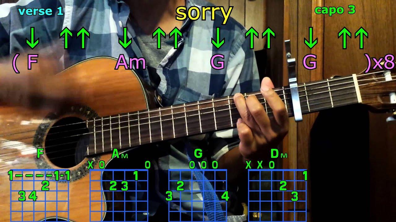 Sorry Justin Bieber Guitar Chords Youtube
