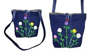 How To Make Long Stripe Hand Bag From Old Jeans, DIY Easy Hand Bag, Old Cloth Reuse Ideas