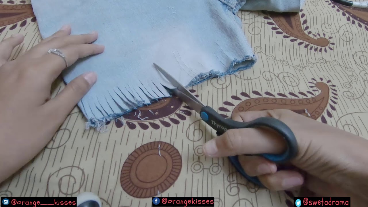 [VIDEO] - DIY Shorts from Jeans How to make denim shorts  Sweta pandey 6
