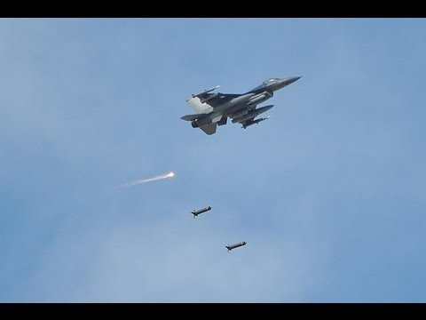 F-16 Dropping Bombs - Close Air Support