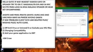 How to fix a MU Online Missing files/ Auto Close Client