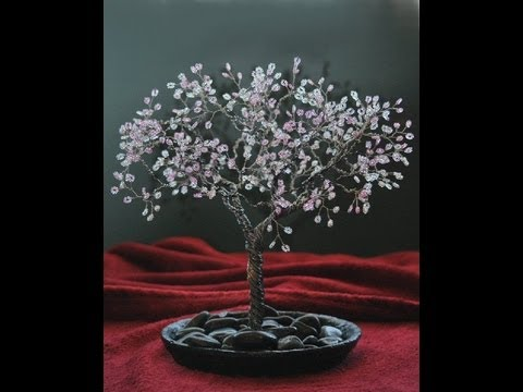 26 Gauge Wire >> Beaded Wire Cherry Blossom Tree - YouTube